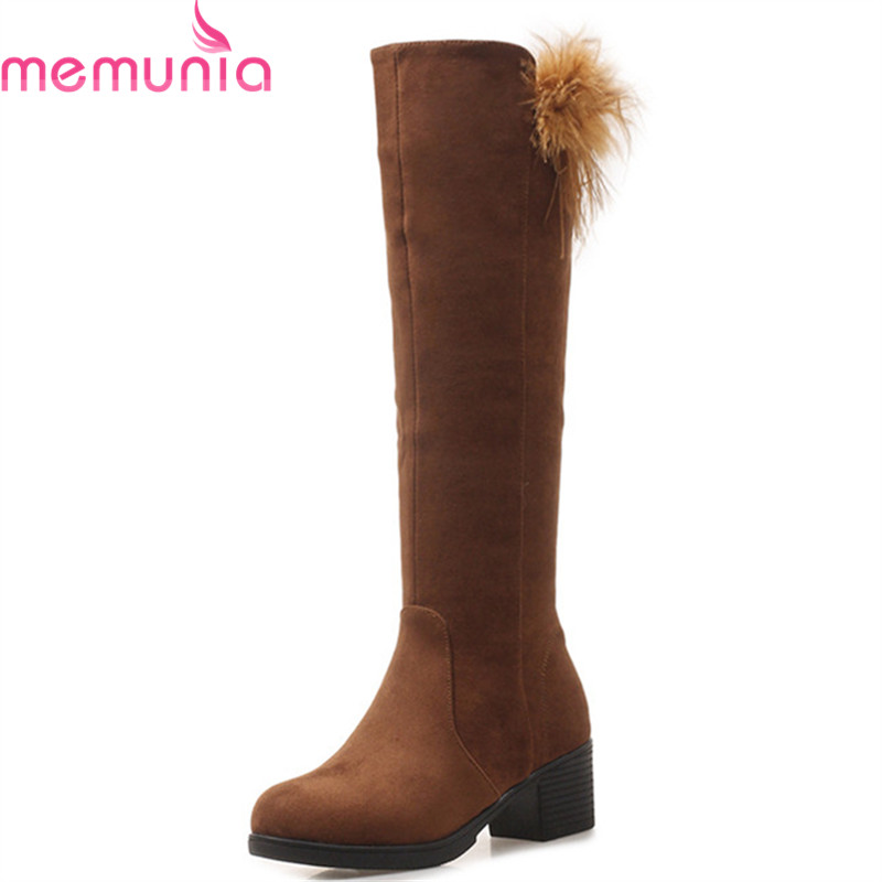 MEMUNIA 2018 new arrival knee high boots women flock high quality autumn winter boots round toe zipper fashion casual shoes MEMUNIA 2018 new arrival knee high boots women flock high quality autumn winter boots round toe zipper fashion casual shoes