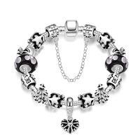 YUEYIN Luxury Womens Bracelets Silver Plated Dog Charm Bracelet Diy Blue Beads Bracelets Bangles Jewelry Pulseras