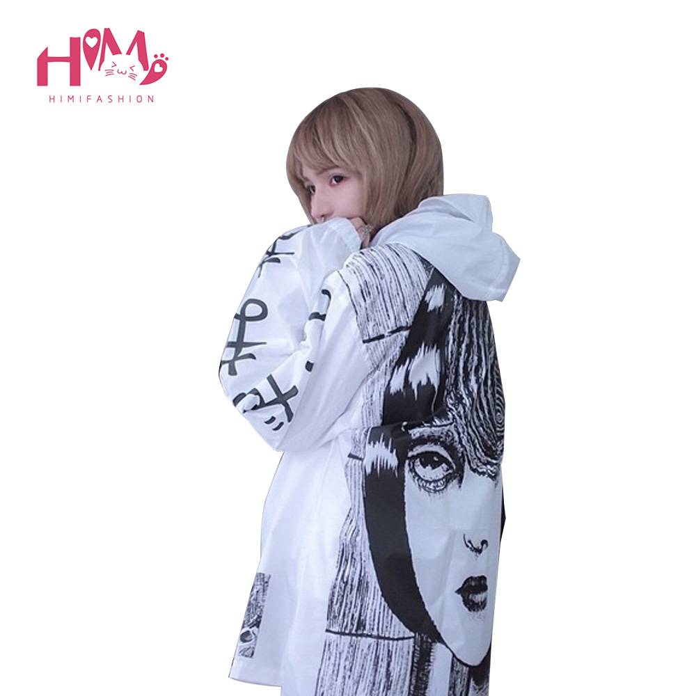 Japanese horror manga Trench Women Men Cute Thin Thriller Cartoon Jumper Trenches for Lovers Long Autumn Rain Proof Trench Coats 3