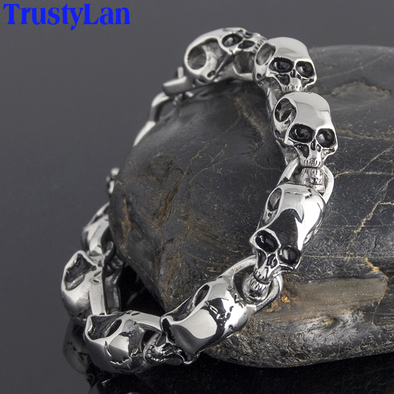 TrustyLan Stainless Steel Mens Friendship Bracelets Punk & Hippe's Skulls Chain Bracelet Masculine Jewelry Halloween Accessories