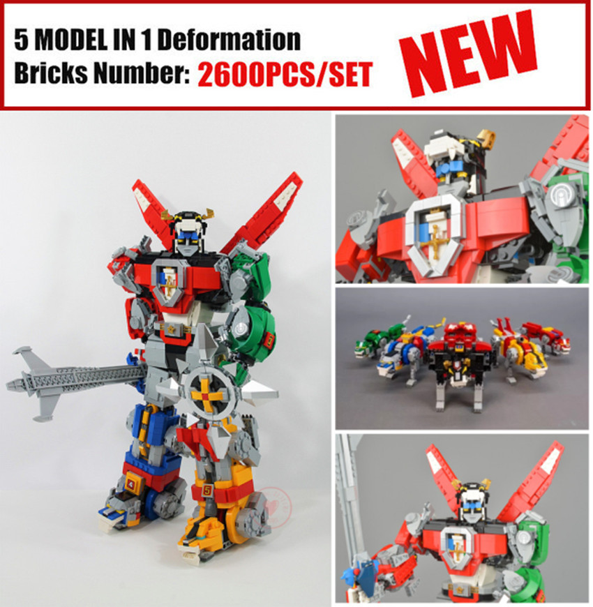 New Deformation ideas robot fit legoings Voltron Defender of the Universe figures Building Blocks Bricks 21311 diy Toy kid gift