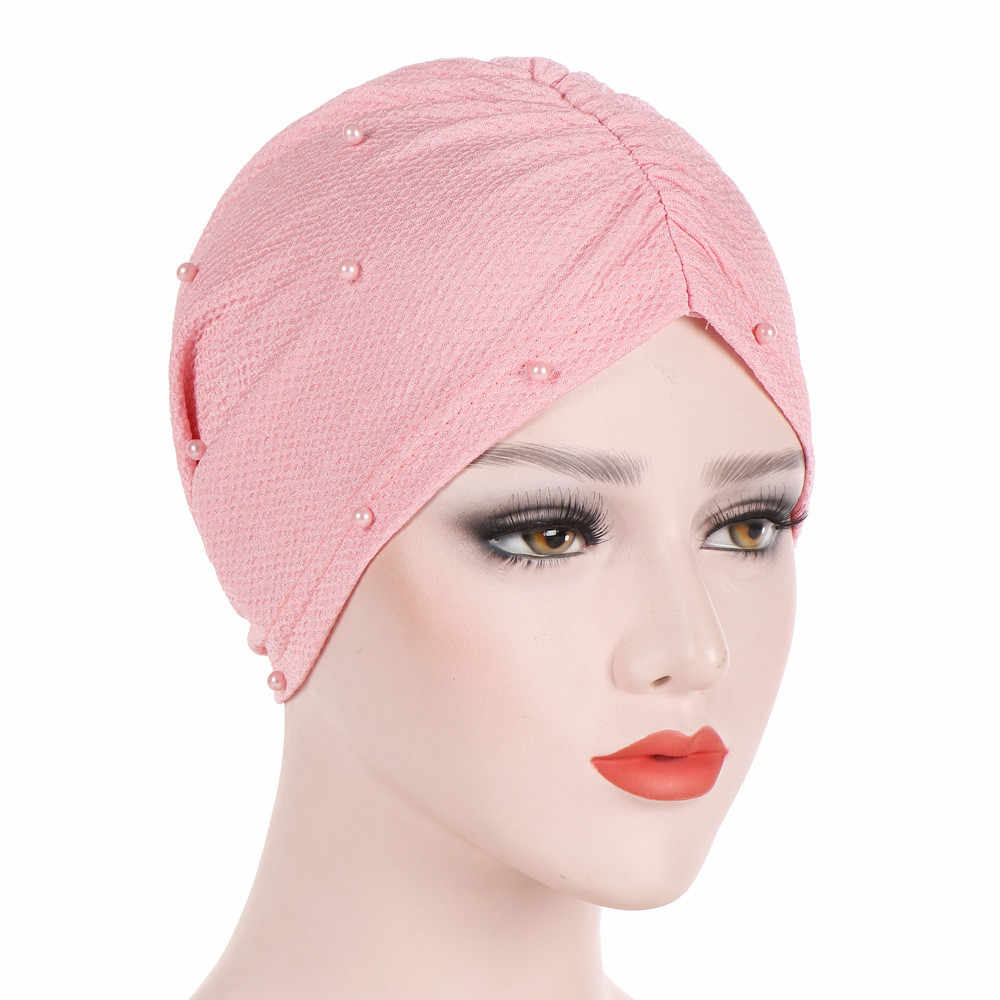 India rebordear turbante mujeres diadema musulmán volantes cáncer quimio sombreros para el cabello gorro Bandanas cabeza envoltura gorro de entrenamiento PJ0830