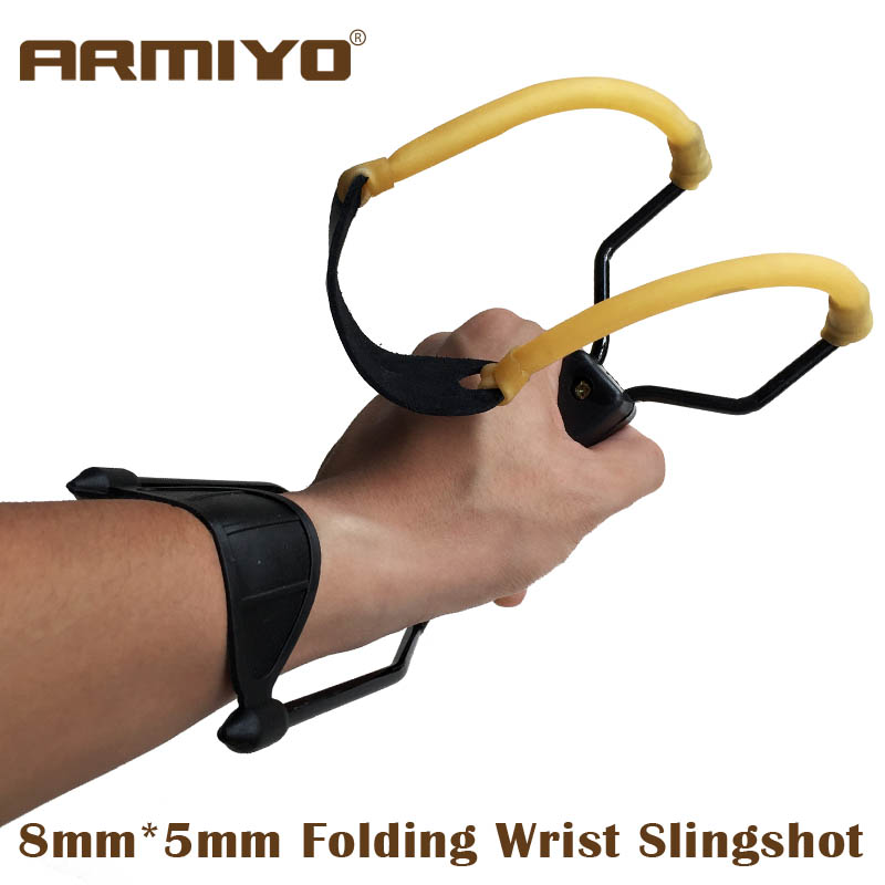 Armiyo Powerful Hunting Fishing Folding Wrist Slingshot Target Shooting With 8mm*5mm Rubber Band Leather Catapult Paintball