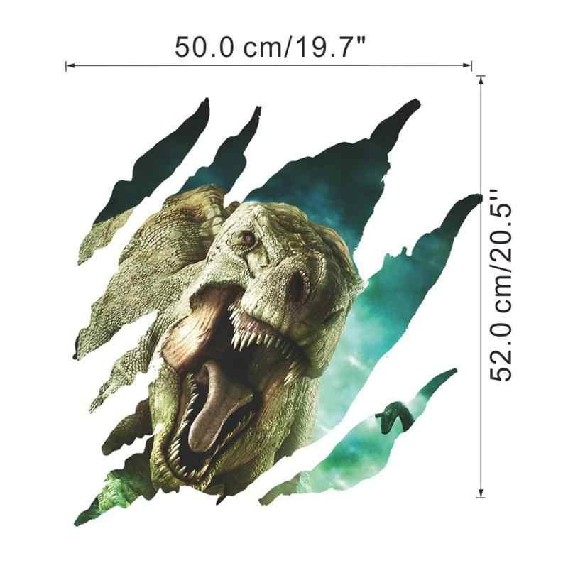 3d Динозавры Сломанные Отверстия наклейки на стену для детей комната Декор для дома из ПВХ сафари стены наклейка животные; настенная роспись