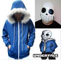 Anime Undertale Sans Hoodies Latex Mask COOL SKELETON Cos Blue Coat Halloween Cosplay Costume Unisex Jacket Headgear