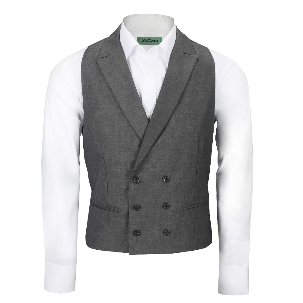 186dd8f40502 Latest Coat Pant Designs Grey Double Breasted waistcoat Wedding vest for Men  Slim Fit Peaked Lapel