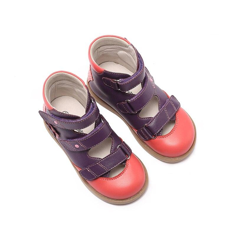 Princepard flambant neuf enfants chaussures d'été crochet boucle fermé orteil enfant en bas âge filles sandales orthopédique sport en cuir véritable bébé filles - 4