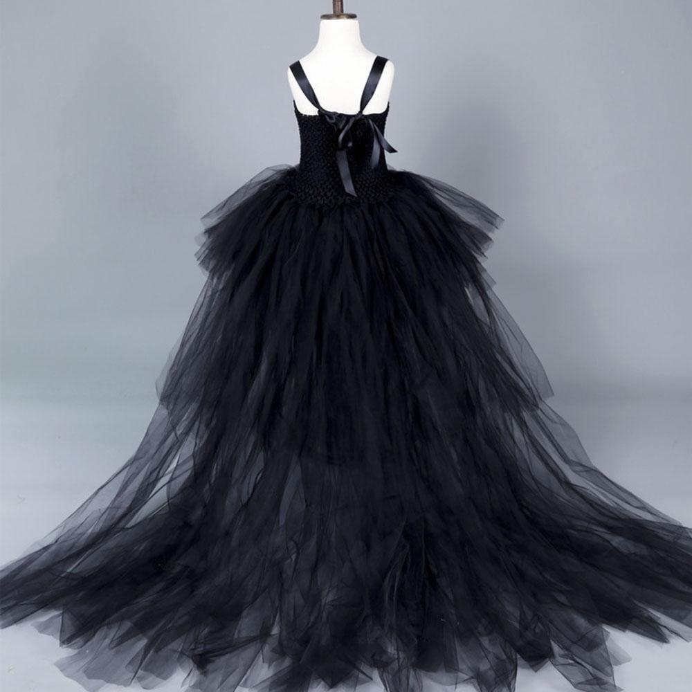 1b181d5d5e Straszny czarny dziewczyna czarownica Tutu sukienka dla dzieci dziewczyny  kot zła dziewczyna Cosplay piętro pociąg sukienka na przyjęcie urodzinowe  ...
