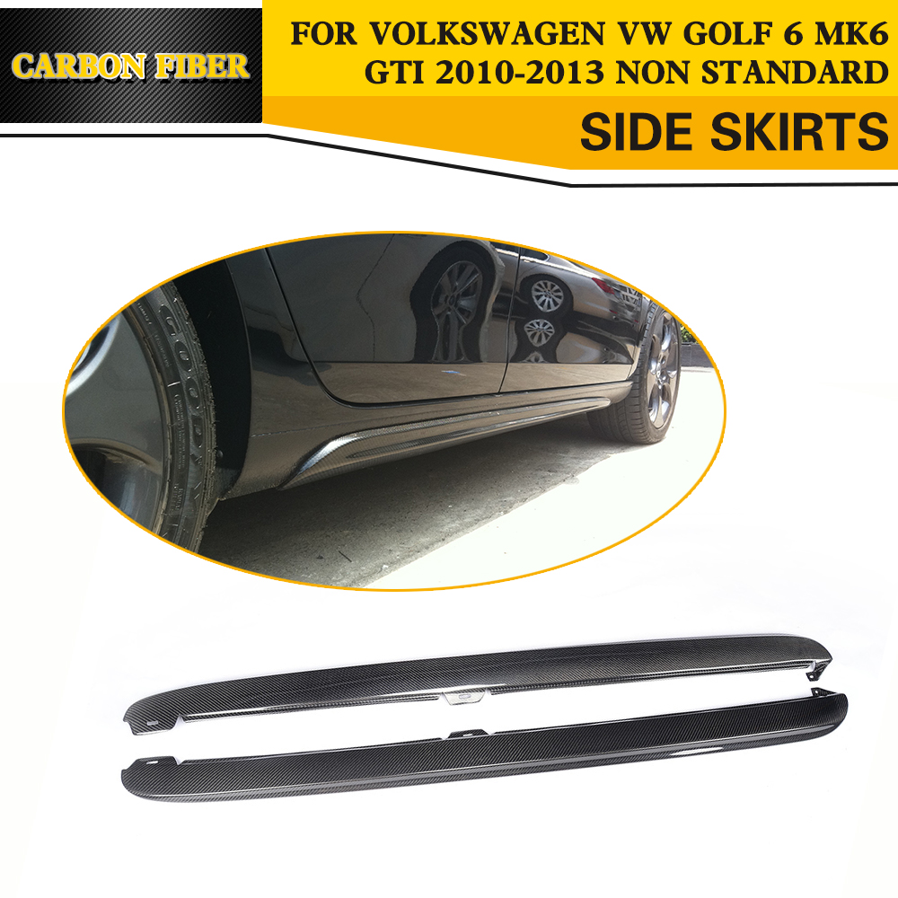 car-styling carbon fiber side skirt body apron kits for VW golf MK6 GTI 2010-2013 free shipping 5pcs pm6640 ball feet in stock
