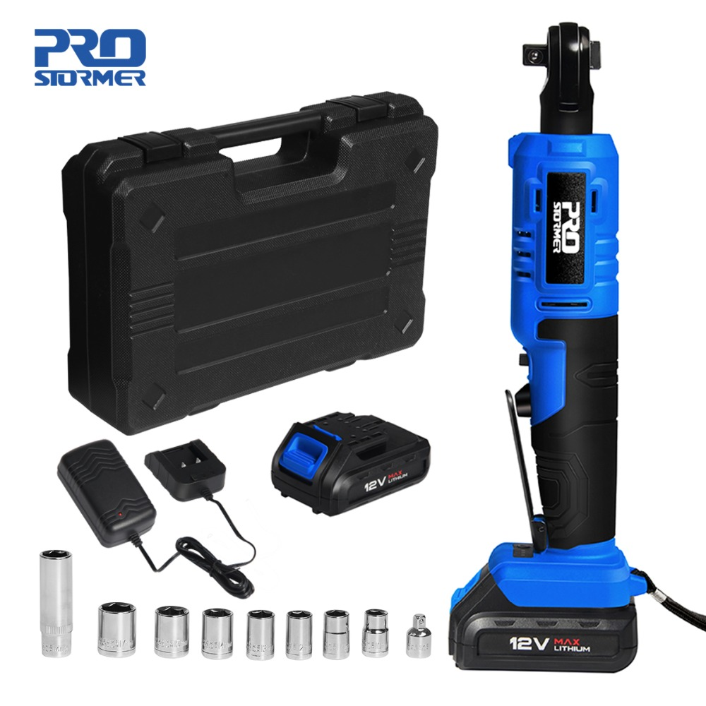 PROSTORMER 12V Electric Ratchet Wrench 3/8 inch 45NM Torque Cordless Battery Wrench 2000mAh Two Batteries 9 Sockets Power Tools