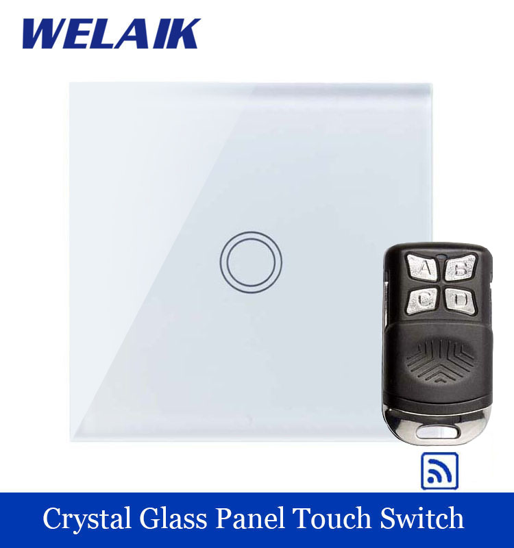 WELAIK Glass Panel Switch White Wall Switch EU remote control Touch Switch  Light Switch 1gang1way AC110~250V A1913XW/BR01 smart home eu touch switch wireless remote control wall touch switch 3 gang 1 way white crystal glass panel waterproof power