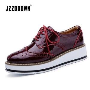 Image 4 - Jzzddown couro genuíno sapatos de luxo mulher plataforma rendas até oxford sapatos femininos mocassins porco camurça senhoras sapatos com saltos 4.5 cm