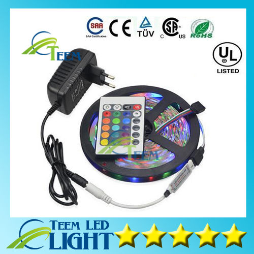 10set/lot 5M SMD 3528 RGB Flexible LED Strip light 60LEDs / M + 24Key IR Remote Controller + DC 12V 3A Power Adapter EU/US Plug ip66 waterproof smd5050 rgb led flexible strip light rgb light strips fish tank lighting set include 5a power and ir controller