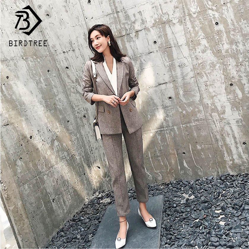 Women's Solid Blazer Suits Long Sleeve Double Breasted Notched Top Zipper Pockets Pants Office Lady Korean Style S91509J