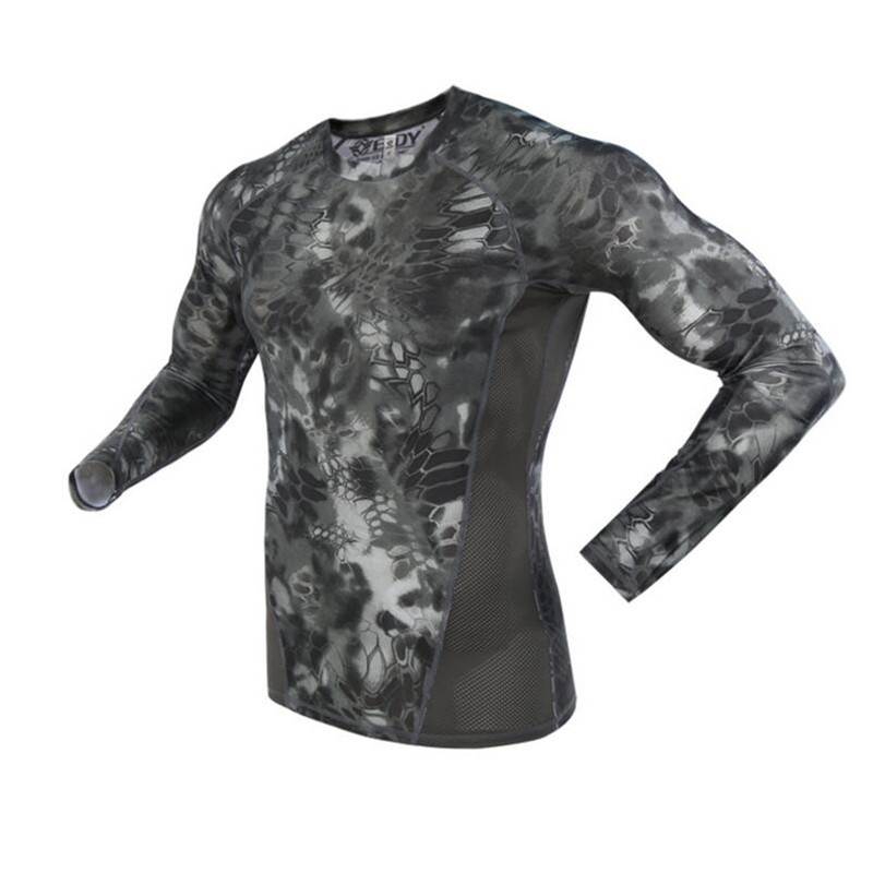 Summer Long Sleeve Military Camouflage T-shirt Men Tactical Army Combat T Shirt Quick Dry Camo Hunt Clothing Casual O-Neck Tshir
