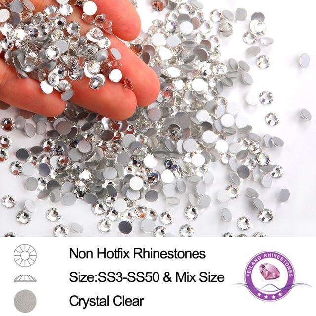 Mix Sizes 3D Crystal Strass Nail Art Rhinestones Flatback Glass Stone Non  Hotfix Rhinestone For 3D Nails Decoration 3ea73cb6ed2e