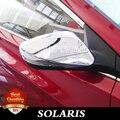 Frete grátis ABS porta lateral espelhos retrovisores capa 2 pçs/set para Hynudai solaris 2010 - 2015 ABS chrome