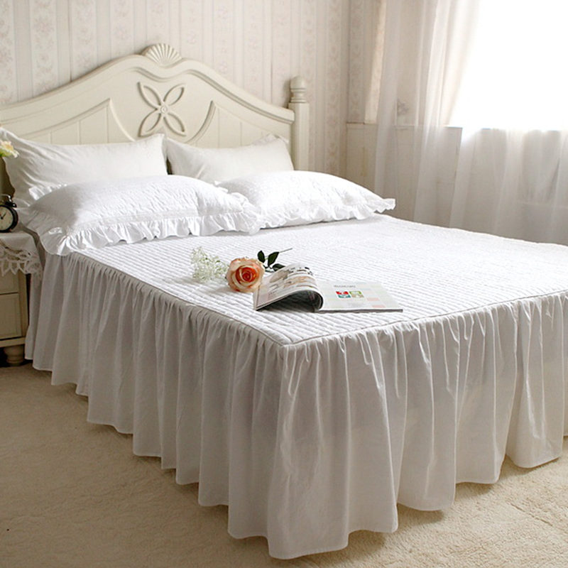 White quilted rufflled bedspread 100 cotton bed skirt bed for Quilted bed frame