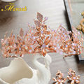Gorgeous Handmade Pink Crystal Tiaras Princess Hairstyle Wedding  Hair Jewelry Sets Tiaras and Earrings Rose Gold Hairband HG132