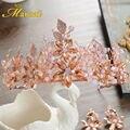 Lindo Artesanal de Cristal Rosa Conjuntos de Jóias Do Cabelo Do Casamento Tiaras Tiaras Princesa Penteado e Brincos em Ouro Rosa Hairband HG132