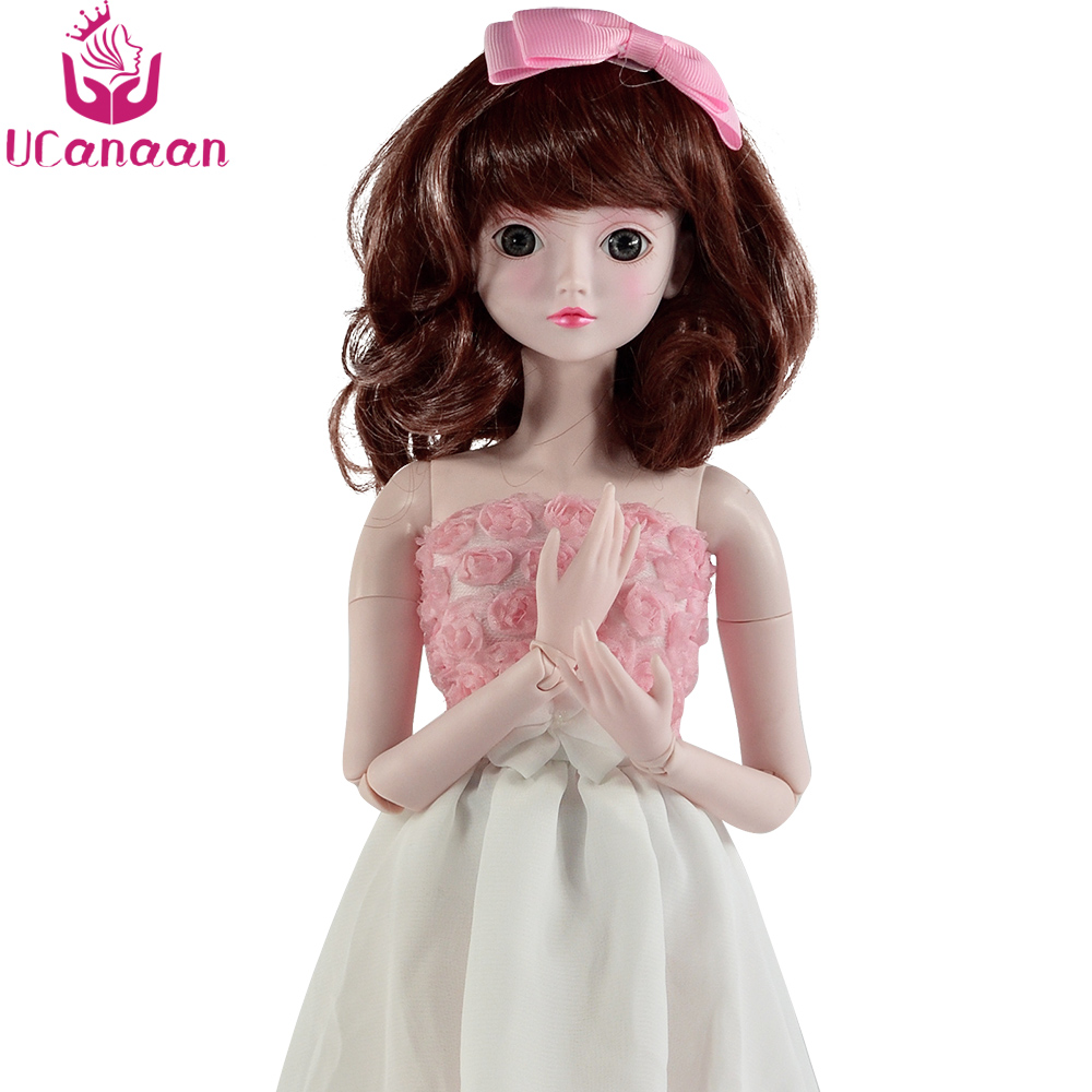 все цены на Ucanaan BJD Doll 24 Inch Full Set 1/3 Girl SD Dolls 19 Ball Jointed Dolls With Shoes Dress Wig Makeup Girls DIY Dressup Toys онлайн