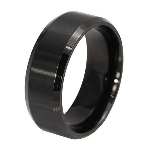 Fashion 8MM Titanium Steel Band Ring Men Wedding Engagement Jewelry Black