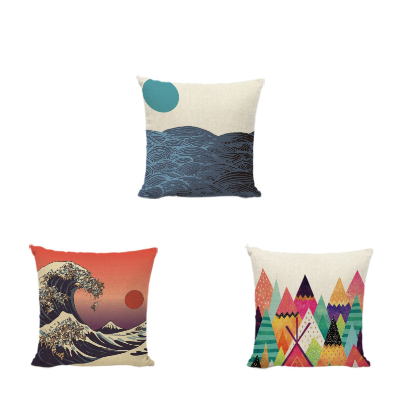 Creative Japan Traditional Painting Wave Sea Cushion Cover Brand 17*17In Mountain Sun Striped Living Room Office Decor Furniture