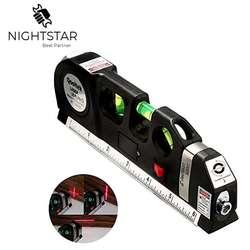 Laser Level Horizon Vertical Measure 8FT Aligner Standard and Metric Rulers Multipurpose Measure Level Laser Black