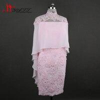 Розовый Винтаж Кружево аппликации по колено Мамам молодожёнов с накидкой 2017 Vestido Mae да Noiva вечерние платья Большие размеры