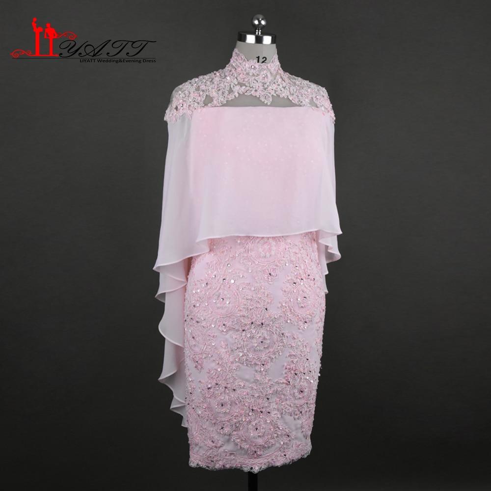Pink Vintage Lace Appliques Knee Length Mother of the Bride Dresses With Cape 2017 vestido mae da noiva Evening Gowns Plus size