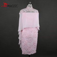 Pink Vintage Lace Appliques Knee Length Mother of the Bride Dresses With Cape 2017 vestido mae da noiva Evening Gowns Plus size
