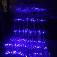 Thrisdar 3x3M 320 LED Waterfall Icicle Curtain LED String Fairy Light Christmas Water Flow Meteor Shower Rain String Light
