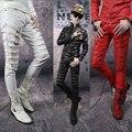 Осень черный красный белый молния брюки мужские кожаные брюки тонкий мужские брюки мужчины 1 брюки pantalones hombre мужчины тощий бегунов