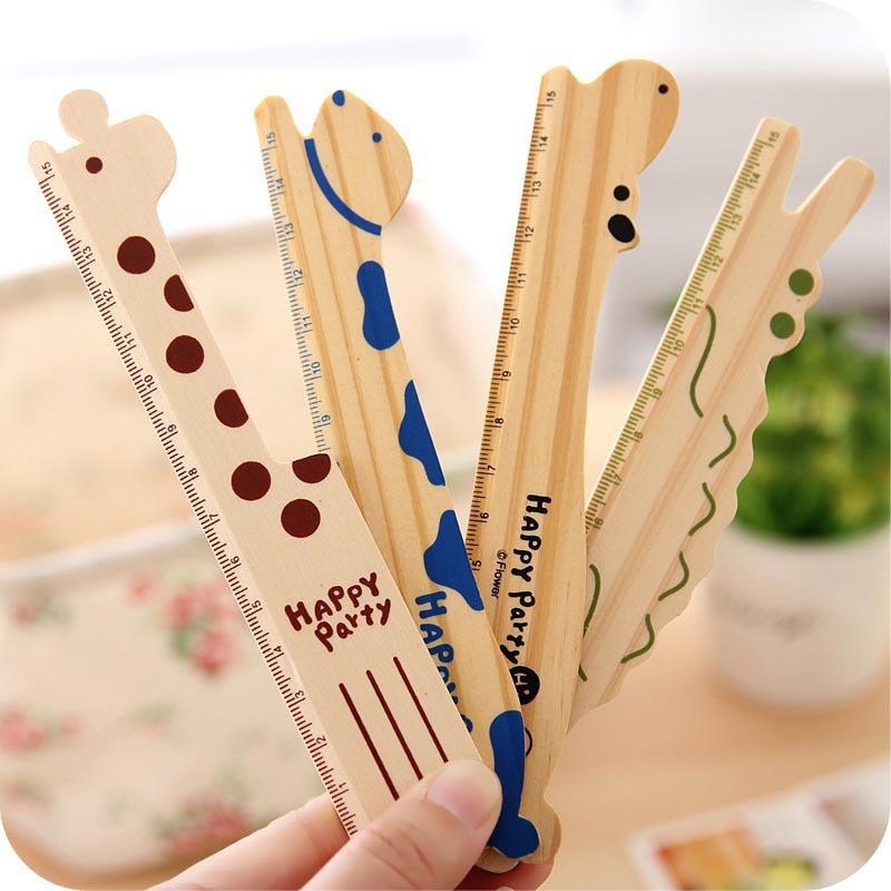 1pc Cute Cartoon Animal Brown Green Blue 15cm Rulers Kawaii Wood Rulers Giraffe School Supplies Stationery