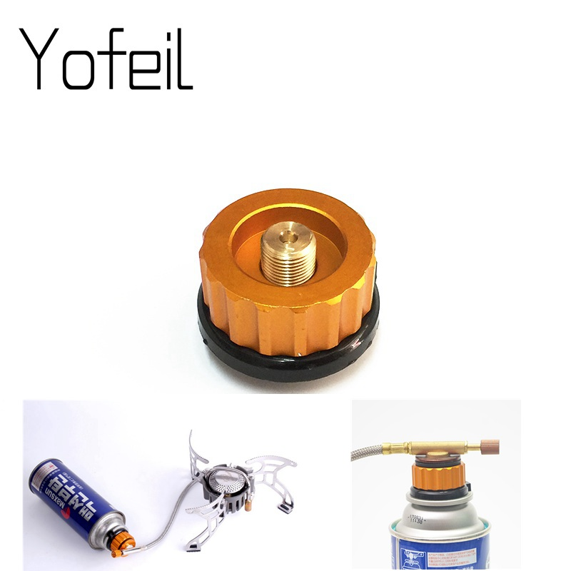 Outdoor Camping Gas Long Tank Cylinder Adapter Split Type Furnace Converter Connector Auto-off Butane Stove Propane Adaptor