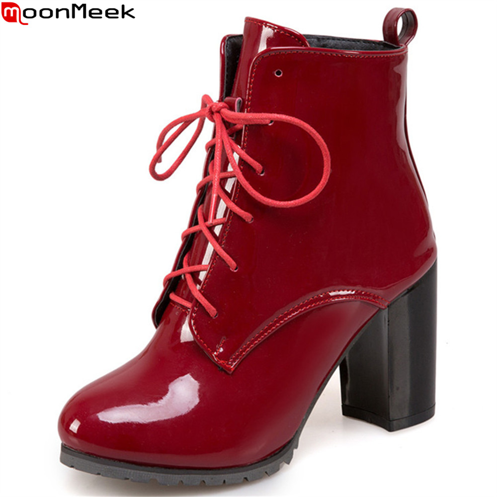 MoonMeek black blue wine red fashion autumn winter women boots round toe zipper ladies shoes cross tied ankle boots plus size women boots plus size 35 43 genuine leather autumn winter ankle boots black wine red shoes woman brand fashion motorcycle boot