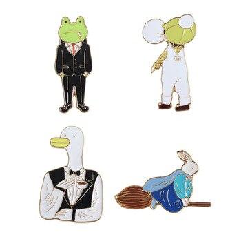 Sansummer аксессуары оптом мультфильм лягушка утка капельного прекрасный кролик личность брошь