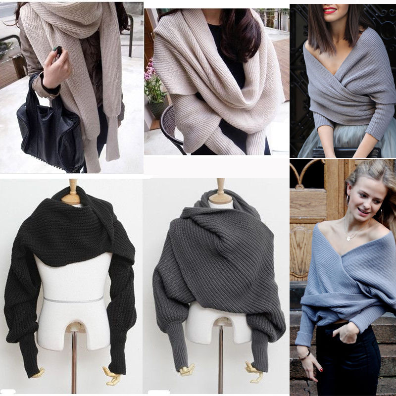 Winter-New-Fashion-Womens-Long-Sleeve-V-neck-Oversized-Loose-Knitted-Sweater-Elegant-Criss-Cross-Short