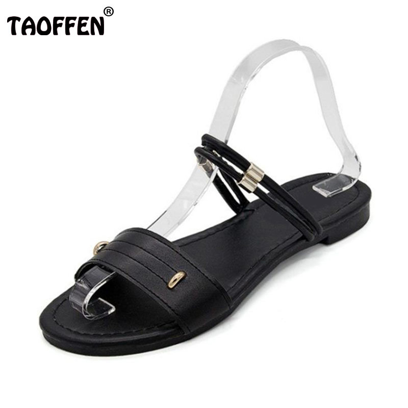 TAOFFEN Simple Office Lady Flats Sandals Metal Open Toe Flats Sandals Summer Beach Shoes Women Vacation Footwears Size 35-39 цена и фото