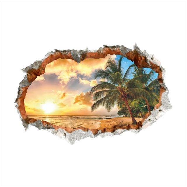 Sunset Sea Beach Wall Stickers 8