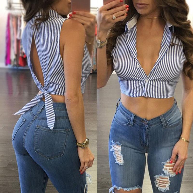Hot Women's Crop Top Sexy Deep V Neck Short Crop Top Tees Casual Short Sleeve Tank Top Summer 2017 Streetwear Striped Women Tops