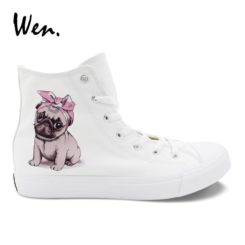 Wen Original Design Canvas Womens Shoes Pug Pet Dog Pink Headband Bowknot High Top Laced White Black Sneakers Mens Skateboard