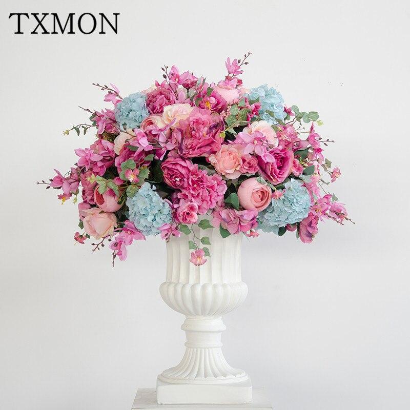 Roman vaso de flores simulação flor de seda bola flor do casamento loja de decoração sala T estágio estágio estrada fotografia adereços