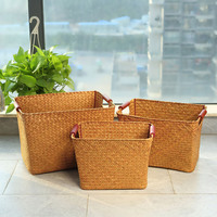Storage Box Straw Plaited Article Storage Baskets Organized Crafts High Quality Woven Straw Baskets For Sundries