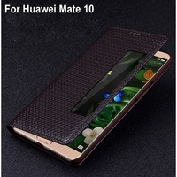 Genuine Leather Open Window Case cover For Huawei mate 10 Flip Back case cover For Huawei mate10 back Leather cover Shell