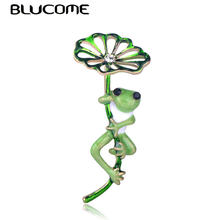Blucome Green Lotus Leaf Frog Shape Brooch Gold Color Pins Women Girls Kids Suit Hats Accessories Scarf Buckles Enamel Jewelry(China)
