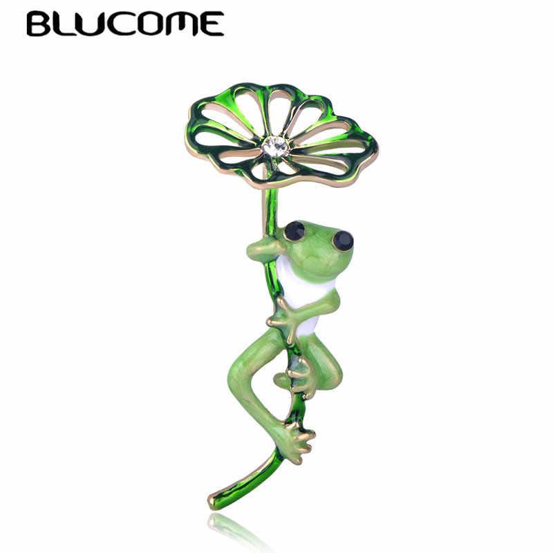 Blucome Verde Foglia di Loto Rana Spilla a Forma di Oro Spilli Donne Ragazze Dei Capretti del Vestito di Colore Cappelli Accessori Sciarpa Fibbie Dello Smalto Dei Monili