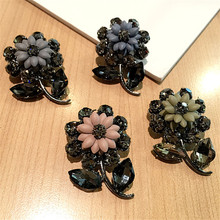 Korea New Handmade Modern Flower Rhinestone Brooches Pins Badges Fashion Jewelry For Woman Accessories-YHGWBH013F