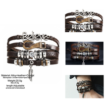 17KM 5 kinds Design Vintage Multiple Layer Leather Charms Bracelets For Men Women Bracelet Bangles Retro Party Jewelry Wholesale