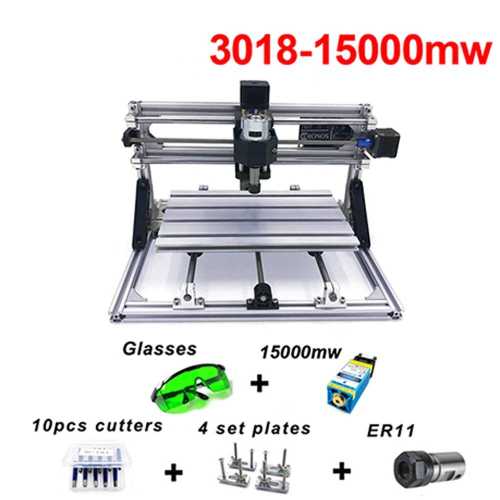 Bricolage Mini CNC Machine GRBL bois routeur CNC 3018 15000 mw métal PCB fraiseuse Laser gravure CNC 3018 Machine de gravure
